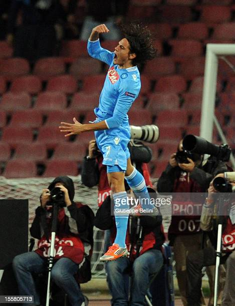 Edinson Cavani of Napoli celebrates after scoring the opening goal during the UEFA Europa League Group F match between SSC Napoli and FC Dnipro...