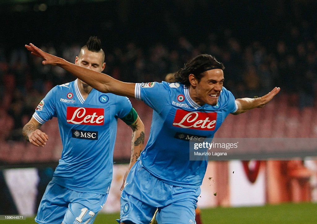 Edinson Cavani of Napoli celebrates after scoring the opening goal during the Serie A match between SSC Napoli and AS Roma at Stadio San Paolo on January 6, 2013 in Naples, Italy.