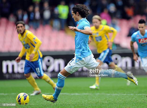 Edinson Cavani of Napoli kicks a penalty to score the 31 goal during the Serie A match between SSC Napoli and Pescara Calcio at Stadio San Paolo on...