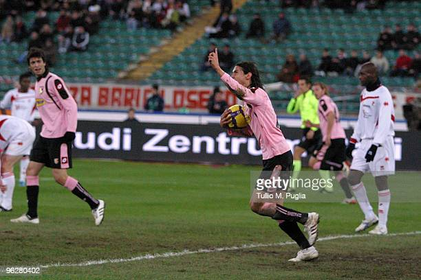 Edinson Cavani of Palermo celebrates a goal during the Serie A match between Bari and Palermo at Stadio San Nicola on January 30 2010 in Bari Italy