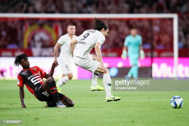 Edinson Cavani of Paris Saint Germain and Eduardo Camavinga of Rennes during the Ligue 1 match between Stade Rennes and Paris SaintGermain at Roazhon...