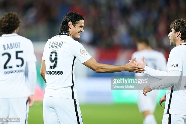 Edinson Cavani of Paris Saint Germain and Maxwell of PSG during the Ligue 1 match between SM Caen and Paris Saint Germain at Stade Michel D'Ornano on...