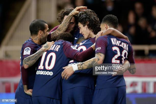 Edinson Cavani of Paris Saint Germain celebrates 01 with Dani Alves of Paris Saint Germain Neymar Jr of Paris Saint Germain Kylian Mbappe of Paris...