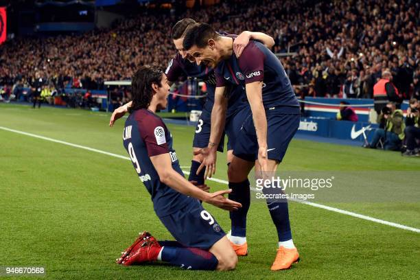 Edinson Cavani of Paris Saint Germain celebrates 20 with Julian Draxler of Paris Saint Germain Angel Di Maria of Paris Saint Germain during the...
