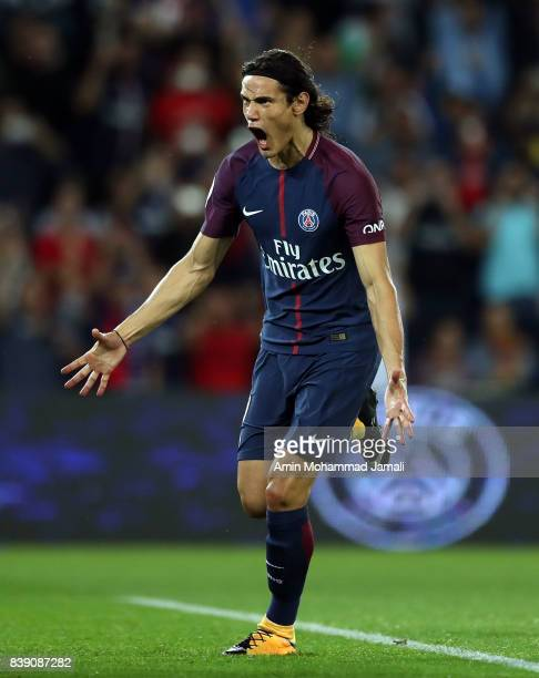 Edinson Cavani of Paris Saint Germain celebrates after his first goal during the French Ligue 1 match between Paris Saint Germain and AS SaintEtienne...