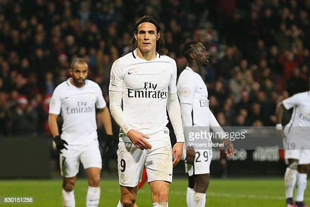 Edinson Cavani of Paris Saint Germain during the French Ligue 1 match between Guingamp and Paris Saint Germain at Stade du Roudourou on December 17...