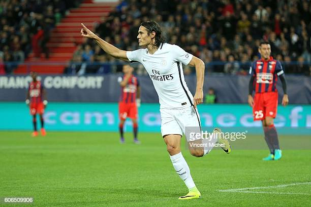 Edinson Cavani of Paris Saint Germain jubilates after scoring a goal during the Ligue 1 match between SM Caen and Paris Saint Germain at Stade Michel...