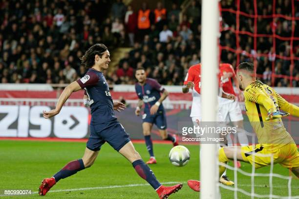 Edinson Cavani of Paris Saint Germain scores the first goal to make it 10 during the French League 1 match between AS Monaco v Paris Saint Germain at...