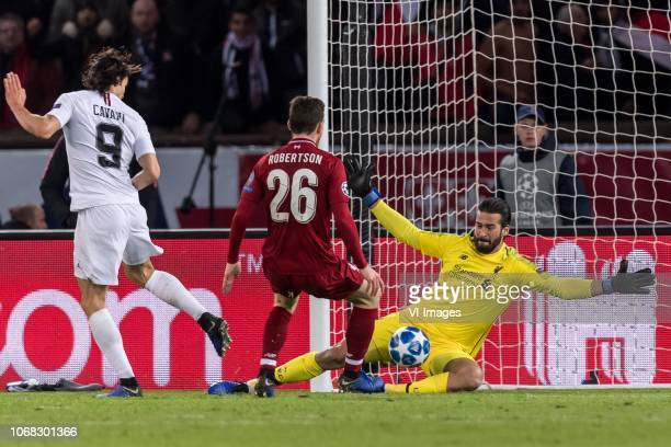 Edinson Cavani of Paris SaintGermain Andy Robertson of Liverpool FC goalkeeper Alisson Becker of Liverpool FC during the UEFA Champions League group...