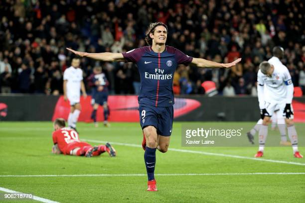 Edinson Cavani of Paris SaintGermain celebrate his goal during the Ligue 1 match between Paris SaintGermain and Dijon FCO at Parc des Princes on...