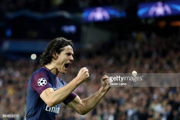 Edinson Cavani of Paris SaintGermain celebrate his goal during the UEFA Champions League group B match between Paris SaintGermain and Bayern Muenchen...