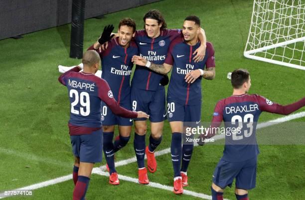 Edinson Cavani of Paris SaintGermain celebrate his goal with Neymar Jr Kylian Mbappe and tLayvin Kurzawa during the UEFA Champions League group B...