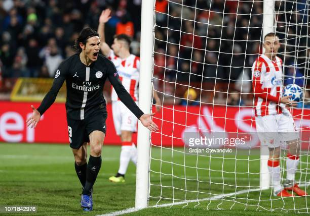 Edinson Cavani of Paris SaintGermain celebrates after scoring a goal during the UEFA Champions League Group C match between Red Star Belgrade and...