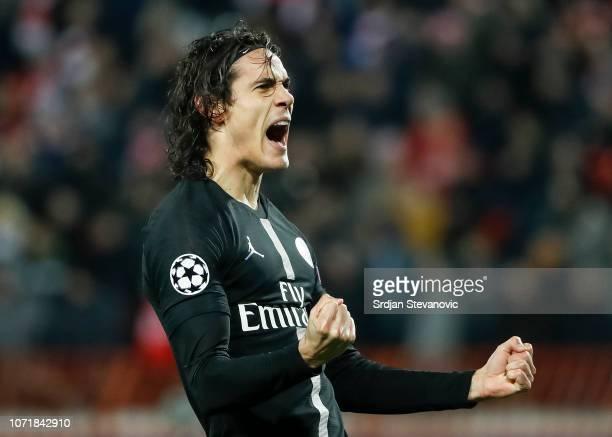 Edinson Cavani of Paris SaintGermain celebrates after scoring a goalduring the UEFA Champions League Group C match between Red Star Belgrade and...