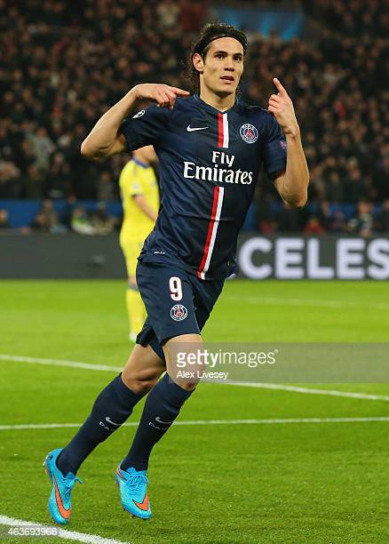 Edinson Cavani of Paris SaintGermain celebrates as he scores their first and equalising goal during the UEFA Champions League Round of 16 match...