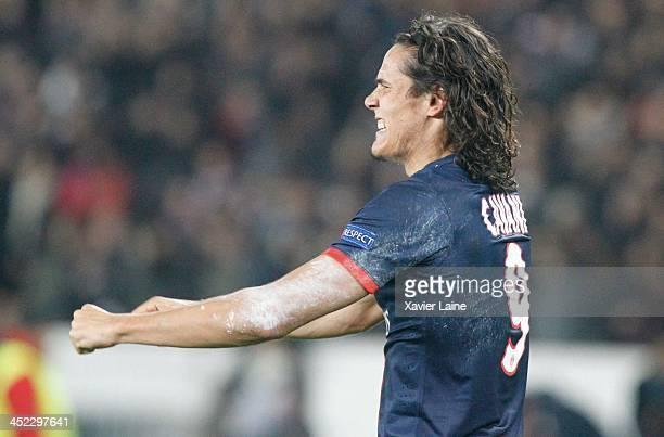Edinson Cavani of Paris SaintGermain celebrates his goal and the victory during the UEFA Champions League between Paris SaintGermain FC and...