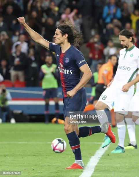 Edinson Cavani of Paris SaintGermain celebrates his goal during the French Ligue 1 match between Paris Saint Germain and AS Saint Etienne on...