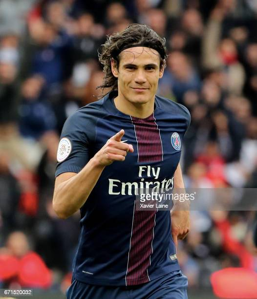 Edinson Cavani of Paris SaintGermain celebrates his goal during the French Ligue 1 match between Paris Saint Germain and Montpellier Herault SC at...