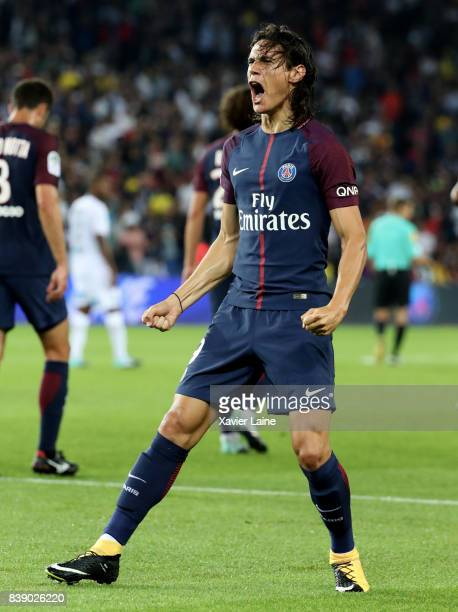 Edinson Cavani of Paris SaintGermain celebrates his goal during the French Ligue 1 match between Paris Saint Germain and AS SaintEtienne at Parc des...