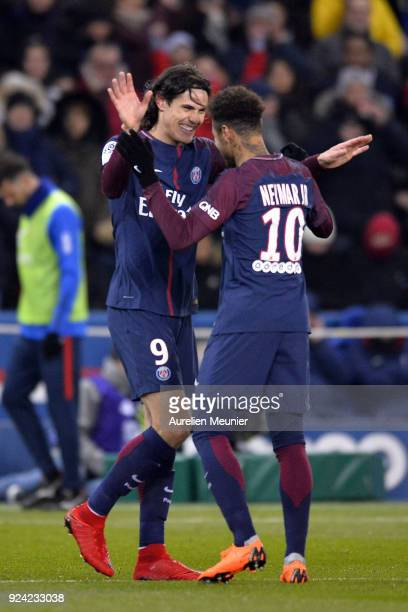 Edinson Cavani of Paris SaintGermain celebrates his goal with Neymar Jr during the Ligue 1 match between Paris Saint Germain and Olympique Marseille...