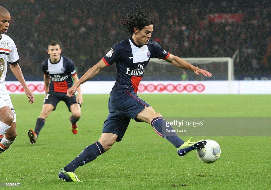 Edinson Cavani of Paris Saint-Germain during the French League 1 between Paris Saint-Germain FC and Lorient FC, at Parc des Princes on November 1, 2013 in Paris, France.