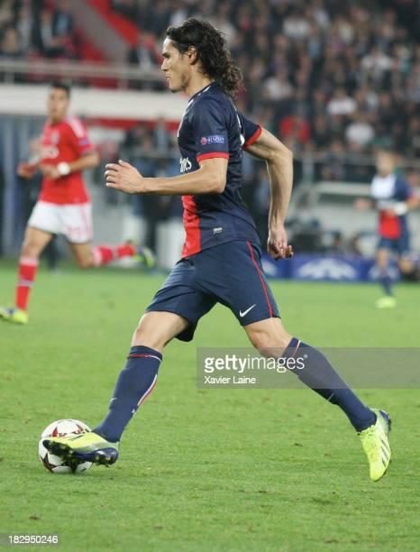 Edinson Cavani of Paris SaintGermain during the UEFA Champions League between Paris SaintGermain FC and SL Benfica at Parc Des Princes on October 02...