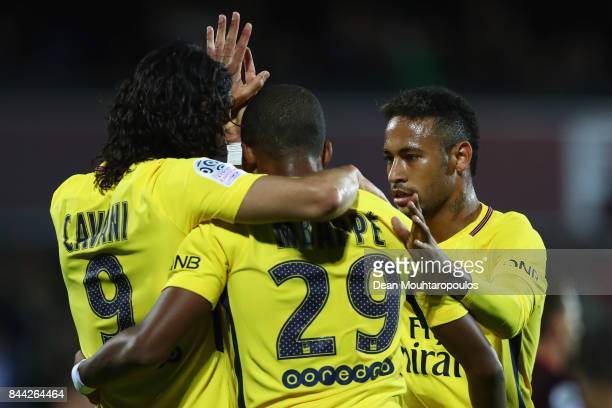Edinson Cavani of Paris SaintGermain Football Club or PSG celebrates scoring the first goal of the game with Kylian Mbappe and Neymar Jr during the...