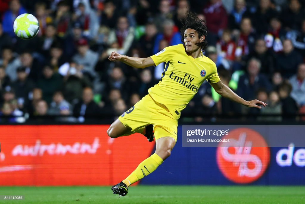 Edinson Cavani of Paris Saint-Germain Football Club or PSG shoots on goal during the Ligue 1 match between Metz and Paris Saint Germain or PSG held at Stade Saint-Symphorien on September 8, 2017 in Metz, France.