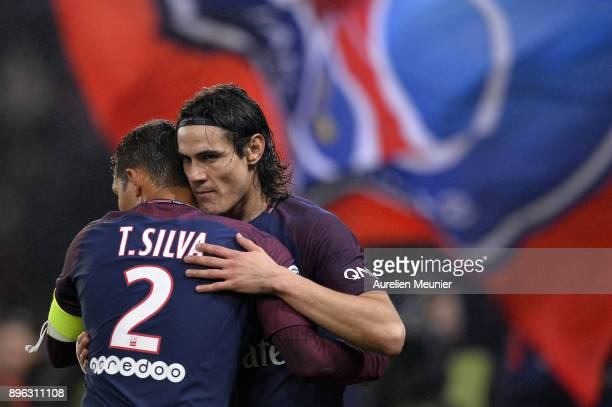 Edinson Cavani of Paris SaintGermain is congratulated by teammate Thiago Silva after scoring during the Ligue 1 match between Paris Saint Germain and...