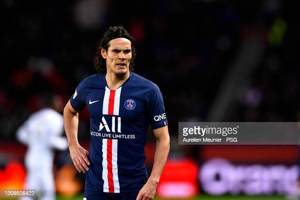 Edinson Cavani of Paris SaintGermain looks on scoring during the Ligue 1 match between Paris SaintGermain and Dijon FCO at Parc des Princes on...