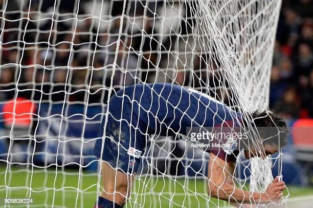 Edinson Cavani of Paris SaintGermain reacts after missing a goal which would make him the all time best scorer of Paris SaintGermain during the...