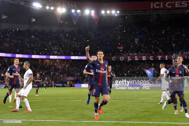 Edinson Cavani of Paris Saint-Germain reacts after scoring during the French Ligue 1 match between Paris Saint Germain and AS Saint Etienne on...