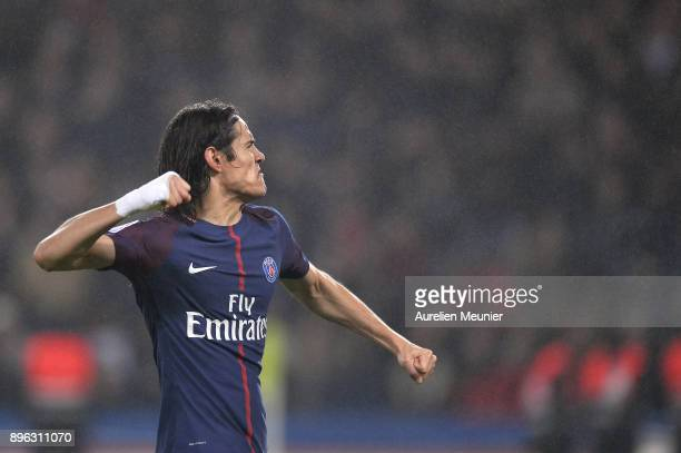 Edinson Cavani of Paris SaintGermain reacts after scoring during the Ligue 1 match between Paris Saint Germain and SM Caen at Parc des Princes on...