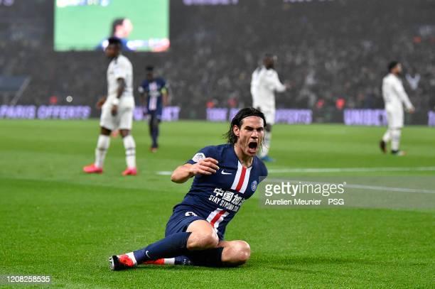 Edinson Cavani of Paris SaintGermain reacts after scoring his 200th goal during the Ligue 1 match between Paris SaintGermain and Girondins Bordeaux...
