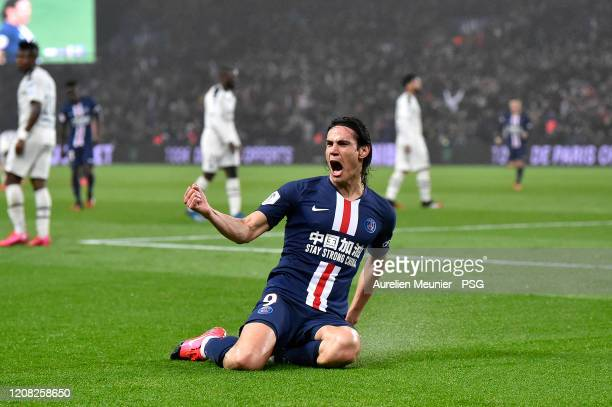 Edinson Cavani of Paris SaintGermain reacts after scoring his 200th goal during the Ligue 1 match between Paris SaintGermain and Girondins Bordeaux...