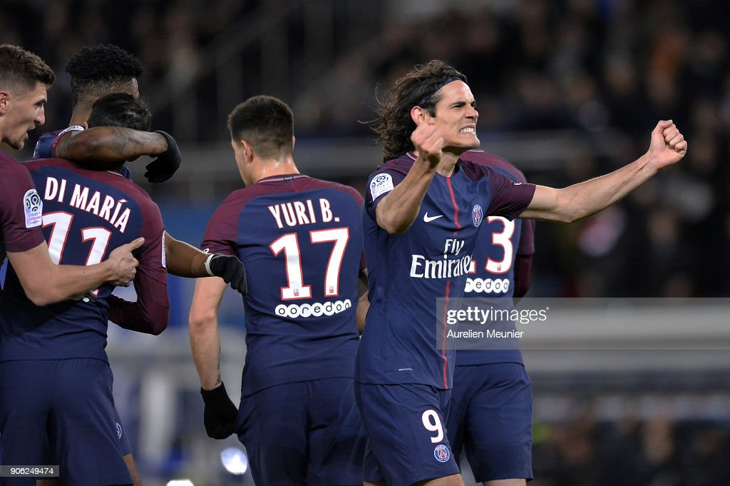 Edinson Cavani of Paris Saint-Germain reacts after scoring which made him tie up the all time club history top scorer during the Ligue 1 match between Paris Saint Germain and Dijon FCO at Parc des Princes on January 17, 2018 in Paris.