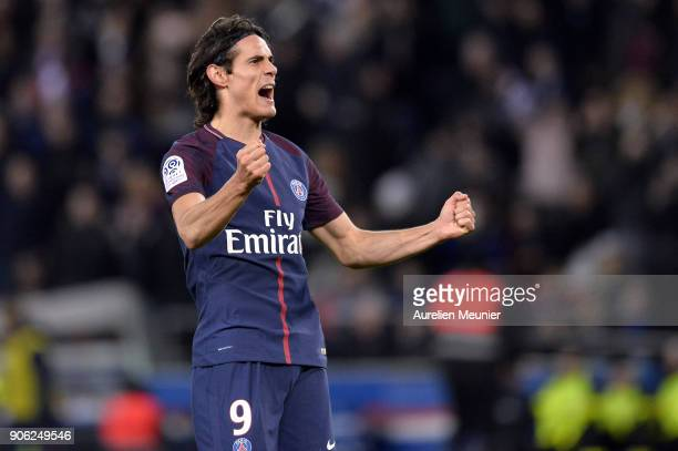 Edinson Cavani of Paris SaintGermain reacts after scoring which made him tie up the all time club history top scorer during the Ligue 1 match between...