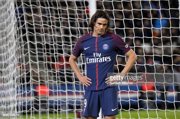 Edinson Cavani of Paris SaintGermain reacts during the Ligue 1 match between Paris Saint Germain and Dijon FCO at Parc des Princes on January 17 2018...