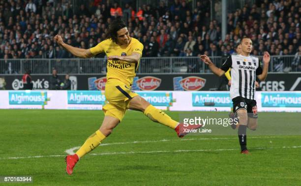 Edinson Cavani of Paris SaintGermain scores a goal during the Ligue 1 match between Angers SCO and Paris Saint Germain at Stade Raymond Kopa on...