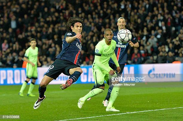 Edinson Cavani of Paris SaintGermain shoots on goal during the UEFA Champions League Quarter Final first leg game between Paris SaintGermain and...