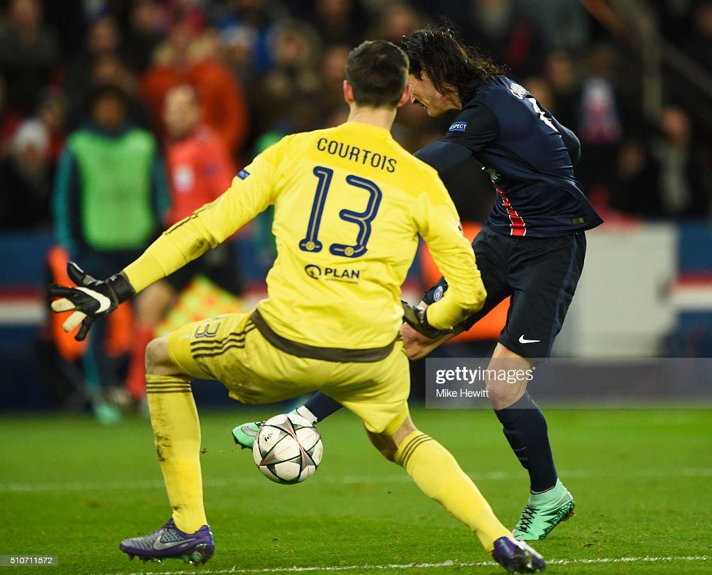Edinson Cavani of Paris Saint-Germain shoots past Thibaut Courtois of Chelsea to score their second goal during the UEFA Champions League round of 16 first leg match between Paris Saint-Germain and Chelsea at Parc des Princes on February 16, 2016 in Paris, France.