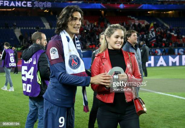 Edinson Cavani of PSG and his girlfriend Jocelyn Burgardt celebrate during the French Ligue 1 Championship Trophy Ceremony following the Ligue 1...