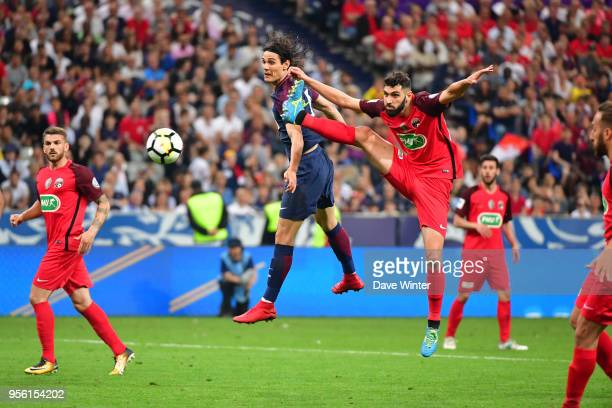 Edinson Cavani of PSG and Joachim Eickmayer of Les Herbiers during the French Cup Final between Les Herbiers and Paris Saint Germain at Stade de...