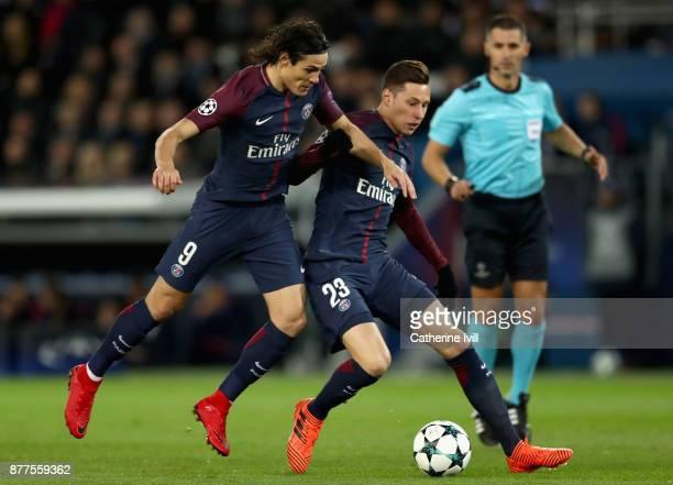 Edinson Cavani of PSG and Julian Draxler of PSG battle for possession during the UEFA Champions League group B match between Paris SaintGermain and...