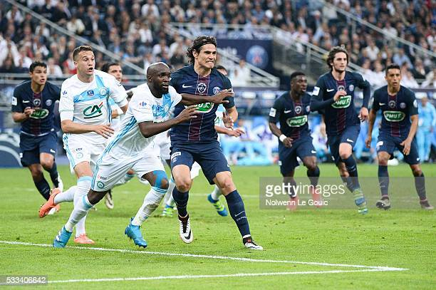 Edinson Cavani of PSG and Lassana Diarra of Marseille during the French Cup Final between Paris Saint Germain and Marseille at Stade de France on May...