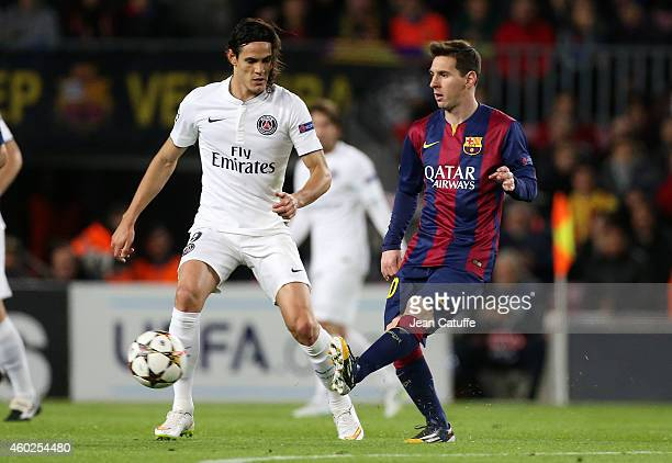 Edinson Cavani of PSG and Lionel Messi of FC Barcelona in action during the UEFA Champions League Group F match between FC Barcelona and Paris...