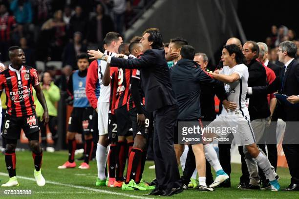 Edinson Cavani of PSG and Unai Emery during the French Ligue 1 match between Nice and Paris Saint Germain at Allianz Riviera on April 30 2017 in Nice...