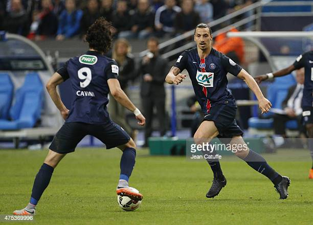Edinson Cavani of PSG and Zlatan Ibrahimovic of PSG in action during the French Cup Final between Paris SaintGermain and AJ Auxerre at Stade de...