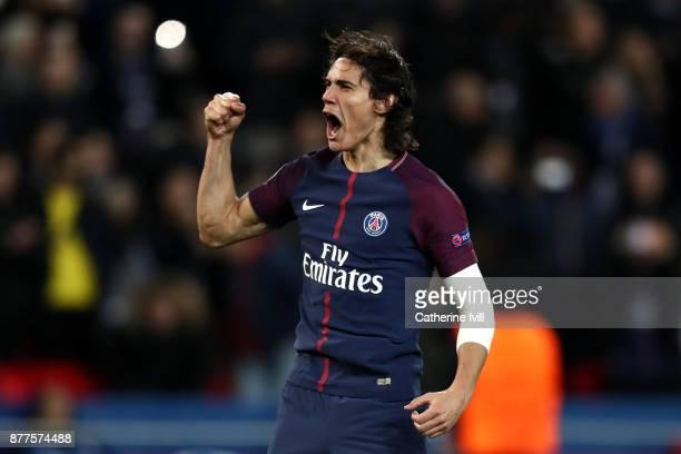 Edinson Cavani of PSG celebrates after scoring his sides sixth goal during the UEFA Champions League group B match between Paris SaintGermain and...