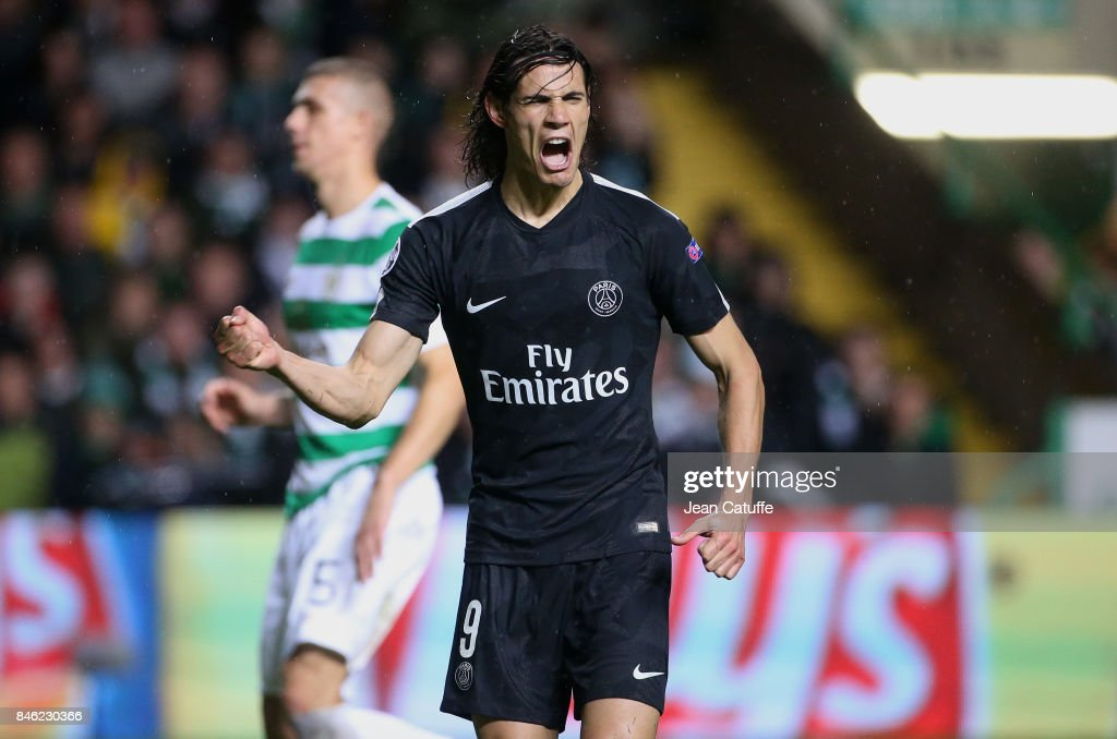 Edinson Cavani of PSG celebrates his first goal from the penalty spot during the UEFA Champions League match between Celtic Glasgow and Paris Saint Germain (PSG) at Celtic Park on September 12, 2017 in Glasgow, Scotland.